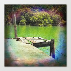 Dilapidated wharf on a tranquil river Canvas Print