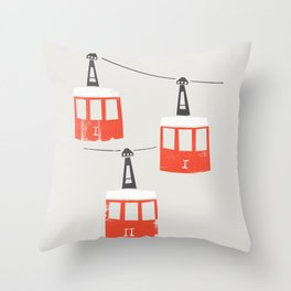 Barcelona Cable Cars Throw Pillow