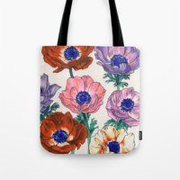 poppies Tote Bags featuring poppies by Ania