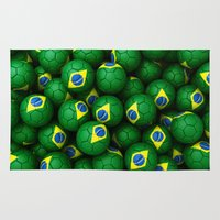 brazil Area & Throw Rugs featuring BRAZIL FOOTBALLS by AMULET
