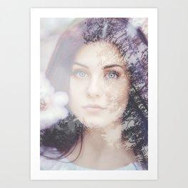 Portrait woman double exposure Art Print