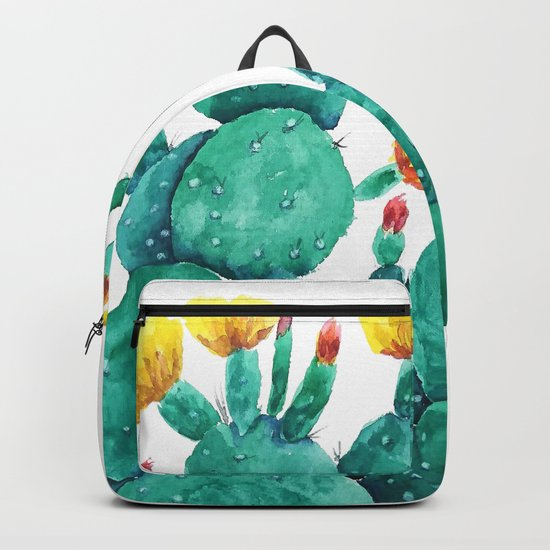 flowering cactus watercolor painting Backpack