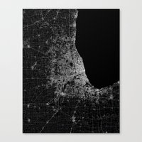 chicago map Canvas Prints featuring Chicago map by Line Line Lines