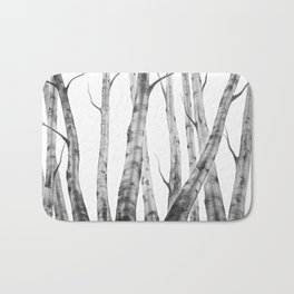 Birch Tree | Watercolour | Painting | black-and-white | Black and White | Minimalism Bath Mat