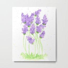 Watercolor Flowers, Lavenders, Purple flowers Metal Print