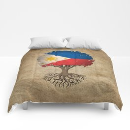 Vintage Tree of Life with Flag of Philippines Comforters