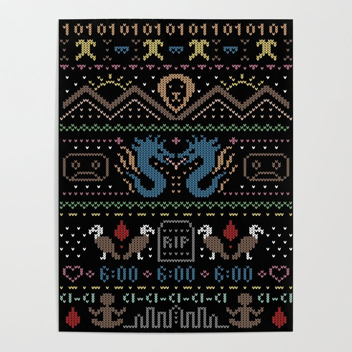 Ugly Christmas Sweaters Patterns.Ugly Christmas Sweater Pattern Poster By Annabai