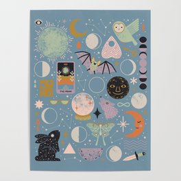Lunar Pattern: Blue Moon Poster
