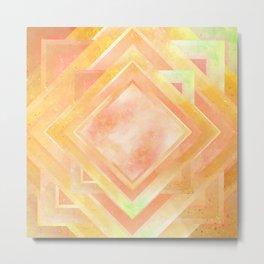 Mosaic Tile // Yellow Starburst Metal Print