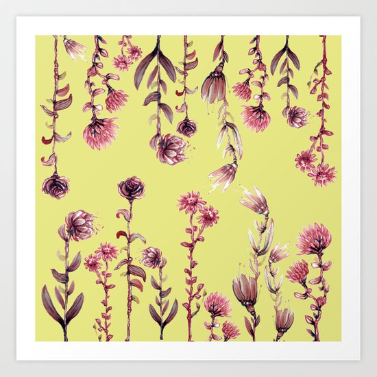 pink water color Garden Art Print