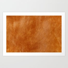 Natural brown leather, vintage texture Art Print