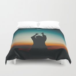 Reaching to the moon Duvet Cover