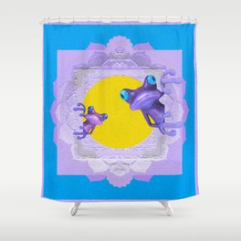Whimsy Tree Frog Lavender, Gold & Blue Boho Mandala Shower Curtain