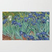 van gogh Area & Throw Rugs featuring Vincent van Gogh - Irises by Elegant Chaos Gallery