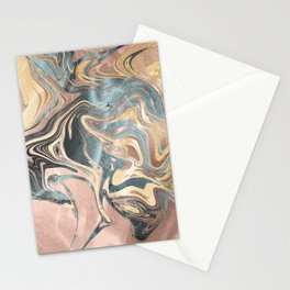 Liquid Gold and Rose Gold Marble Stationery Cards