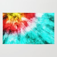 tie dye Area & Throw Rugs featuring Colorful Tie Dye by Phil Perkins