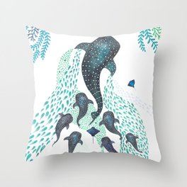 Whale Shark Pod Voyage Ocean Print Throw Pillow