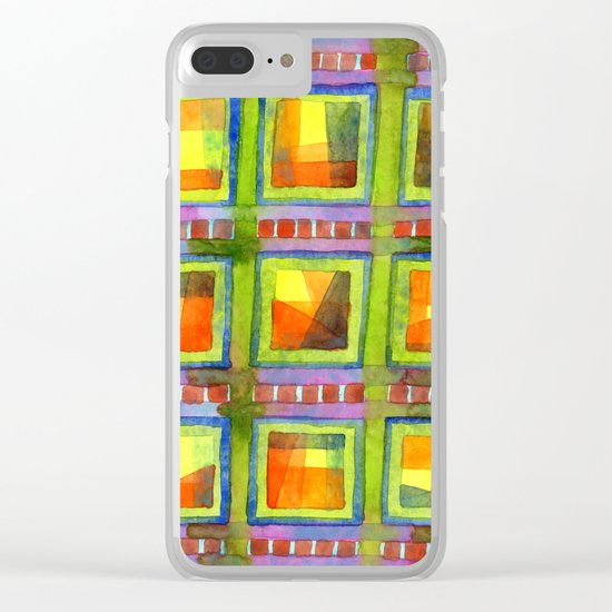 Light behind colorful geometric Windows Clear iPhone Case