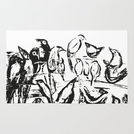 Birds white and black drawing illustration Rug