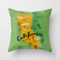 postcard Throw Pillows featuring Postcard from California by Christiane Engel