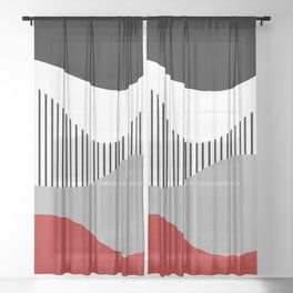 Colorful waves design 2 Sheer Curtain