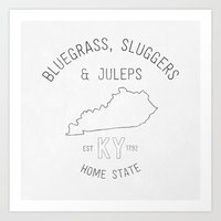 kentucky Art Prints featuring Kentucky  by Home State