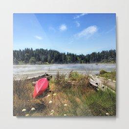Red Kayak Metal Print