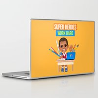 super heroes Laptop & iPad Skins featuring Super Heroes Work Hard by youngmindz
