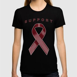 Burgundy Awareness Ribbon T-shirt
