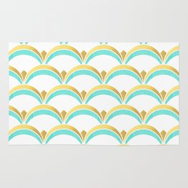 Mint and Gold Gatsby Twenties Deco Fan Pattern Rug