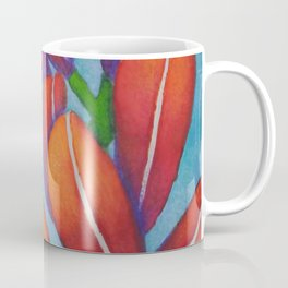 Botanical Painting with Reds and Blues Coffee Mug