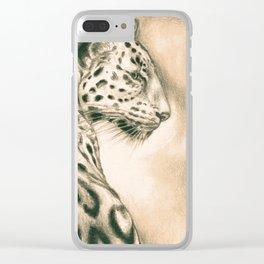 Jaguar In Sepia Clear iPhone Case
