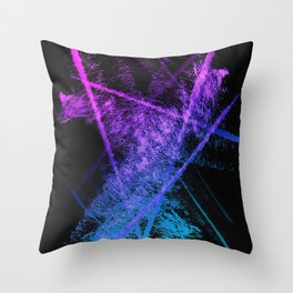 Colorful Abstract Brushstrokes on Black Background Throw Pillow