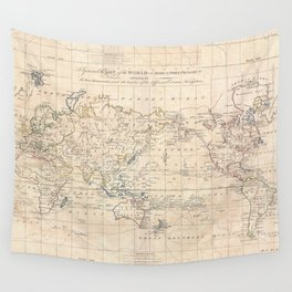 Vintage Map of The World (1799) Wall Tapestry