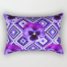 AFGHAN STYLE  PURPLE SPRING PANSIES  PATTERN ART Rectangular Pillow