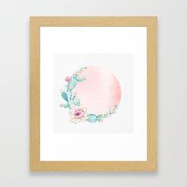Desert Rose Gold Cactus Sun Framed Art Print