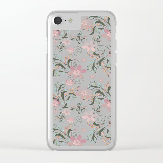 Retro . Pink flowers on grey background . Clear iPhone Case