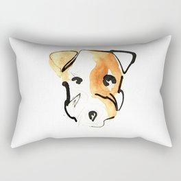 Black Ink and Watercolor Jack Russell Terrier Dog Rectangular Pillow