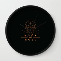 rock and roll Wall Clocks featuring Rock & Roll by Mr Panesar, Illustration & Design