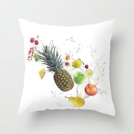Fresh fruits and berries  with water splash Throw Pillow