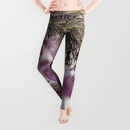 Pink Christmas shimmering baubles twig Leggings