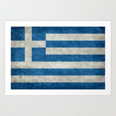 Greek flag in retro grunge Art Print