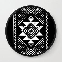 Aztec boho ethnic black and white Wall Clock