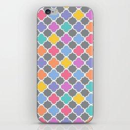 Rainbow & Gray Quatrefoil iPhone Skin