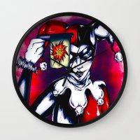 harley quinn Wall Clocks featuring Harley Quinn  by thelocabat