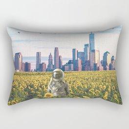 Astronaut in the Field-New York City Skyline Rectangular Pillow