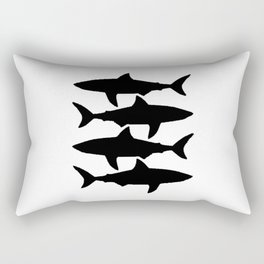 Sharks Fullblack Rectangular Pillow
