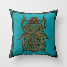 Egyptian Scarab Beetle - Leather & Gold on teal Throw Pillow