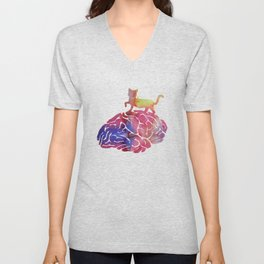 Cat and brain Unisex V-Neck