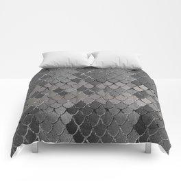 Mermaid Scales Silver Gray Glam #1 #shiny #decor #art #society6 Comforters